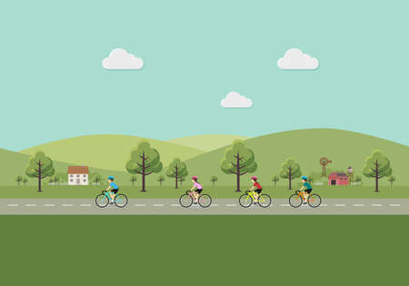 Men and women riding bicycles in the countryside. vector illustration.