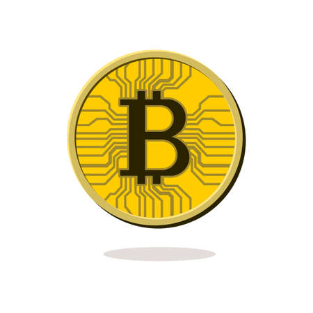 Physical bitcoin. Digital currency. Golden coin with bitcoin symbol isolated on white background. Stock vector illustration.
