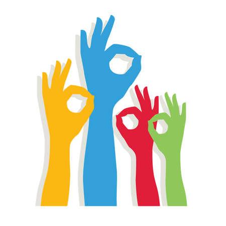 OK hand sign. Hands of different colors. cultural and ethnic diversity, vector illustration Ilustração