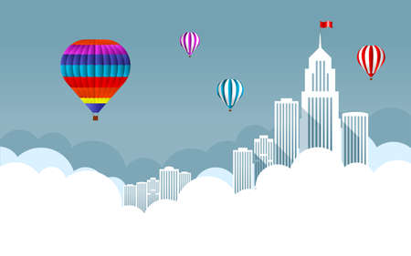 Balloon in the sky with clouds with skyscrapers and large buildings. Vector illustration.