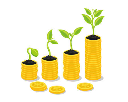 Plant Growing In Savings Coins - Investment And Interest Concept, Business investment growth concept, with stack money coin. Vector illustration.