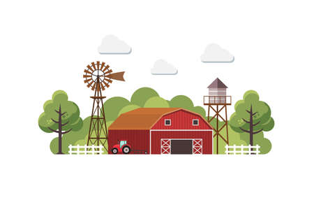 Farmhouse with water tank and Tractor. Vector illustration. Stock Illustratie
