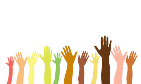 Hands up of different races, colors, nationalities. Vector isolated hand silhouette on white background. Diverse ethnicity hands raised. Asian, arab, african, american, european