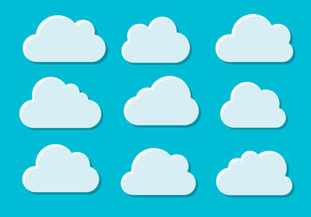 Clouds set isolated on blue background. Collection of clouds for web site, poster, placard and wallpaper. Creative modern concept. Clouds vector illustration.