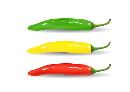 Red, yellow, green hot chili peppers. Vector illustration. Ilustrace