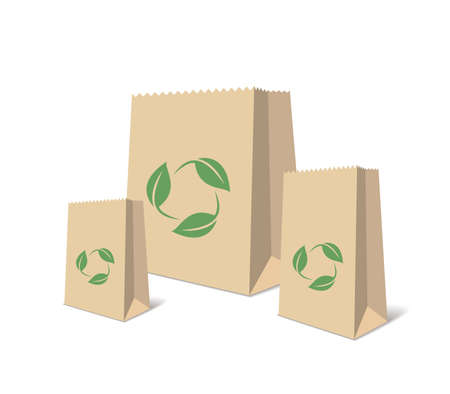 Recycling Paper Bags And Boxes. Realistic Blank Ecologic Craft Package. Illustration Of Recycled Brown Shopping Paper Bags And Boxes With Recycling Symbol. Isolated Illustration
