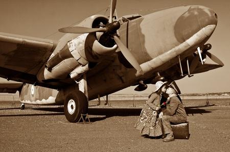 Goodbye my love before leaving for war Archivio Fotografico