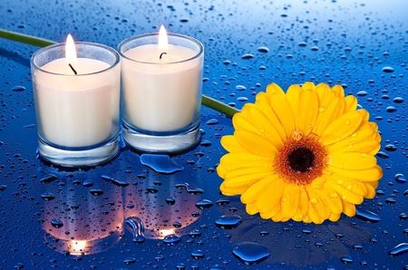 Nat, gele bloem bij kaarslicht met een reflectie op blauwe ondergrond