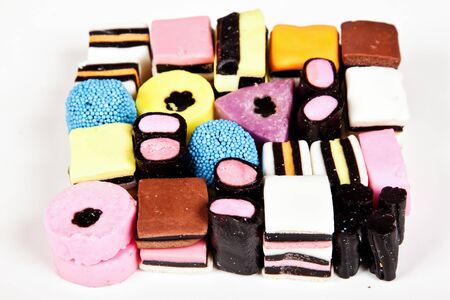 Variety of allsorts sweets packet in a neat pattern