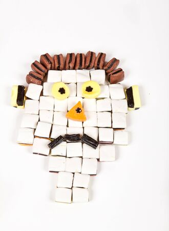 Allsorts man with big, yellow eyes, looking surprised