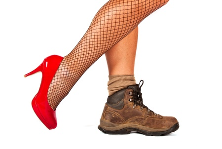 walking boots: Contrast between two shoes, red high hill and walking boots
