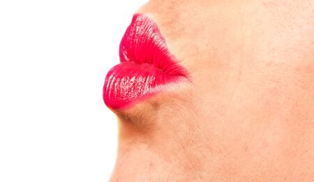 Woman with red lips kissing with white background Stock Photo - 12875943