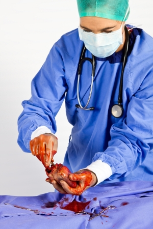 Heart surgeon busy with operation trying to save a life photo