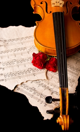 Violin sheet music and rose black composition still life music Stock Photo - 18653682