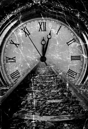 pociąg: Kolej zniknąć zegarków grunge sztuki rozpadu czerni i bieli