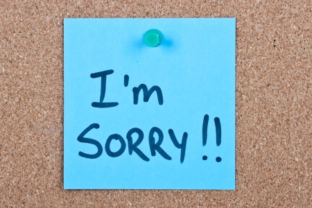 sorry: Post it note blue with i Stock Photo