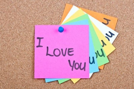 Post it notes on wood collage with I love you photo