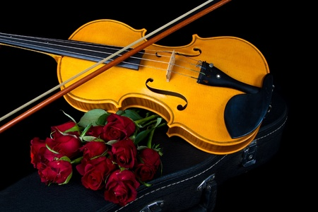fingerboard: Violin on carry red case with sheet music with red roses