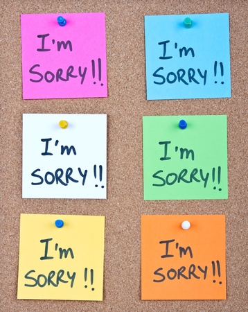 IT: Post it note collage with im sorry message Stock Photo