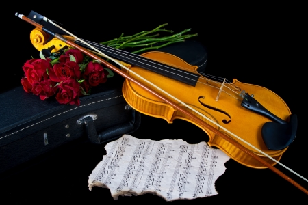frets: Violin on carry red case with sheet music with red roses