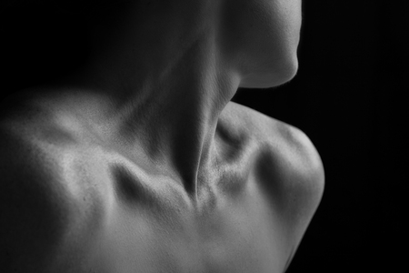 nude black women: Body scape of woman neck and hand with emotion artistic conversion Stock Photo