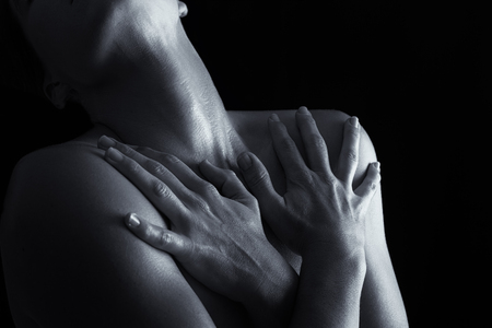 black women nude: Body scape of woman neck and hand with emotion artistic conversion Stock Photo
