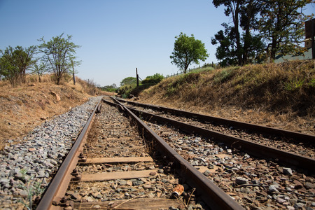 nodal: Old overgrown used railway tracks intersection that merge