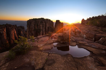 Valley of Desolation in Camdeboo National Park near Graaff-Reinet landscape with rocks and sunset