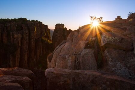desolation: Valley of Desolation in Camdeboo National Park near Graaff-Reinet landscape with rocks and sunset