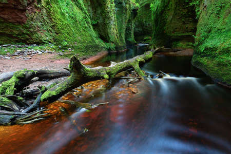 Small river with red water flowing through Finnich Glen landscape photography 스톡 콘텐츠