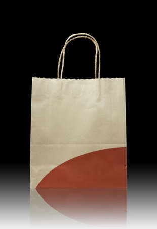 brown paper bag: Brown paper bag on reflect floor and dark background