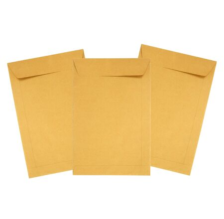 Brown paper envelope isolated on white photo