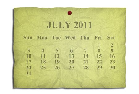 Calendar july 2011 on old Crumpled paper photo
