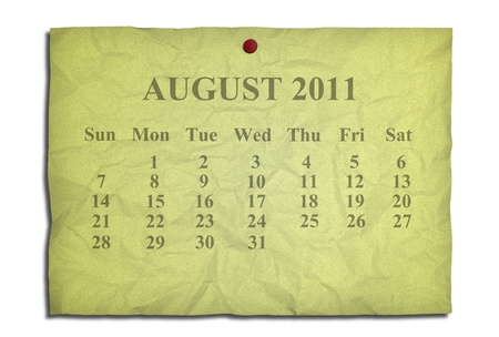 Calendar august 2011 on old Crumpled paper photo