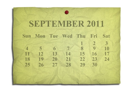 Calendar september 2011 on old Crumpled paper photo