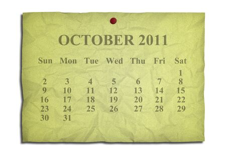 Calendar october 2011 on old Crumpled paper photo