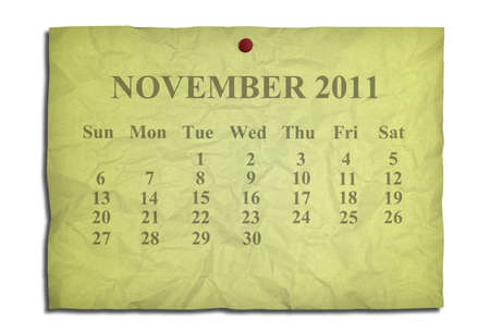 Calendar november 2011 on old Crumpled paper photo