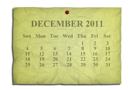 Calendar december 2011 on old Crumpled paper Stock Photo - 9127861