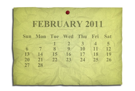Calendar february 2011 on old Crumpled paper photo