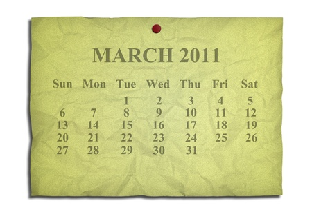 Calendar march 2011 on old Crumpled paper photo