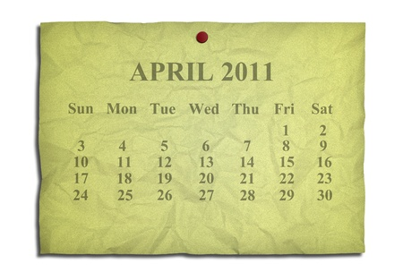Calendar april 2011 on old Crumpled paper photo