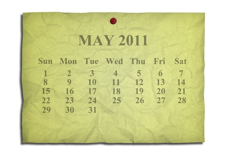 Calendar may 2011 on old Crumpled paper photo