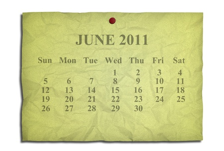 Calendar june 2011 on old Crumpled paper photo