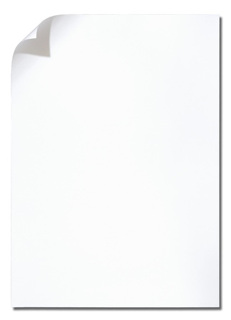 style sheet: White paper with corner curl on white background Stock Photo