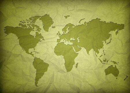 verfrommeld vintage wereldkaart Stockfoto