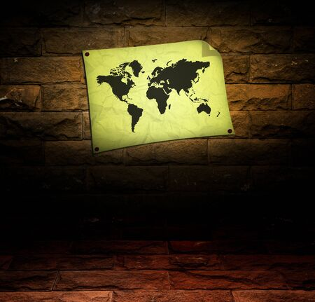 vintage world map room  Stock Photo - 9504281