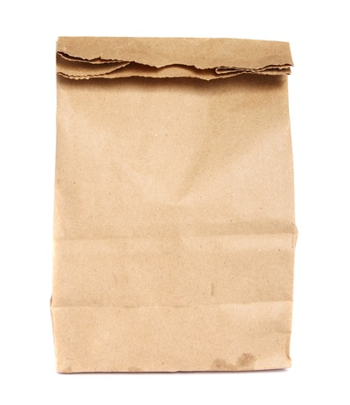 Brown paper bag isolated on white   photo