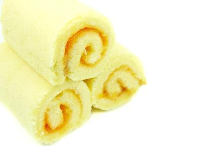 Orange Rolls cake isolated on white background  photo