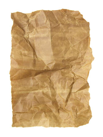 ragged: the old crumpled paper isolated on white   Stock Photo
