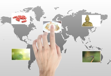 Hand touches the flow of images. Symbol of media streams  Stock Photo - 9711757